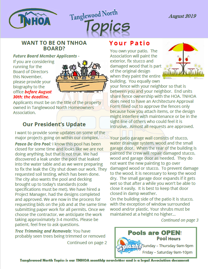 Read more about the article Tanglewood North Topics – August 2019