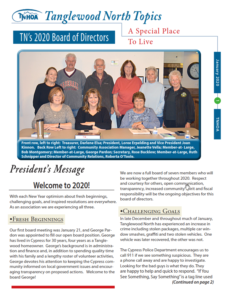 Read more about the article Tanglewood North Topics – January 2020