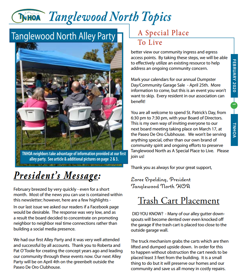 Read more about the article Tanglewood North Topics – February 2020