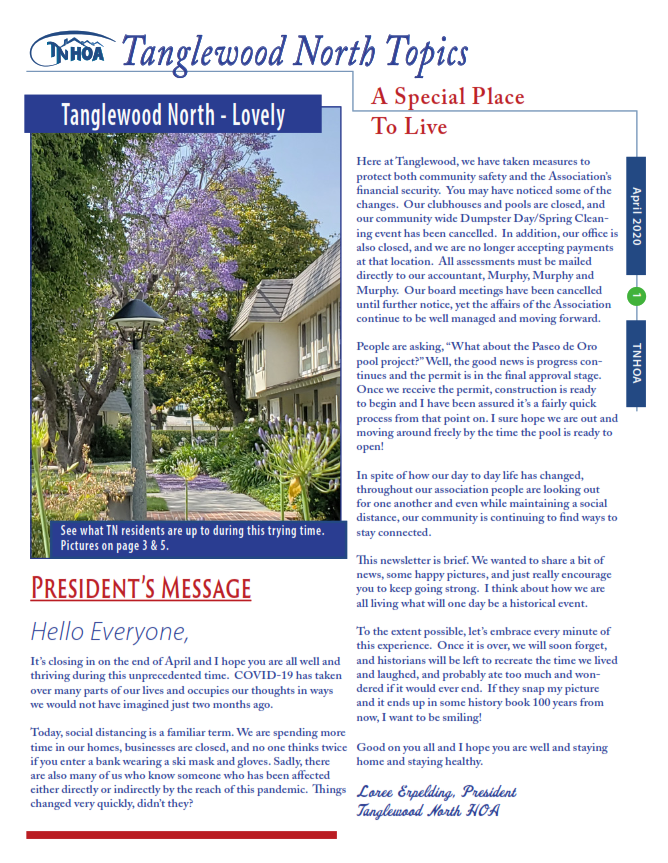 Read more about the article Tanglewood North Topics – April 2020