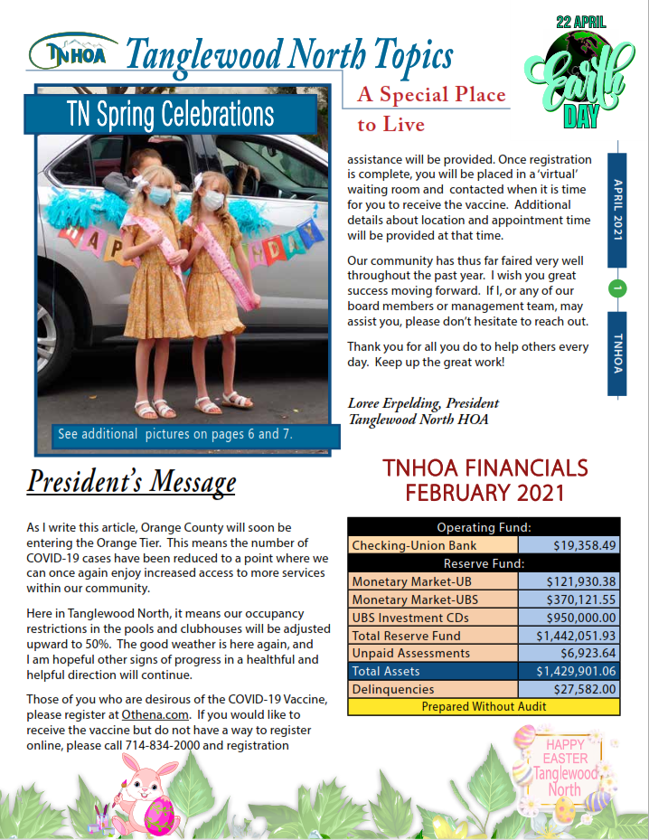 Read more about the article Tanglewood North Topics – April 2021