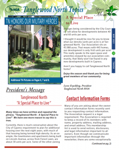 Read more about the article Tanglewood North Topics – May 2021